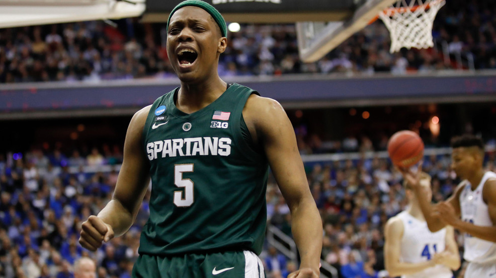 4317bb68 Michigan State guard Cassius Winston (5) reacts to scoring on Duke during  the first half of an NCAA men's East Regional final college basketball game  in ...